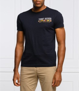 Czarny t-shirt Tommy Hilfiger z krótkim rękawem z bawełny w młodzieżowym stylu
