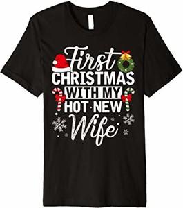 Czarna bluzka Merry Chrismas Couple T-shirt Koln&0m w młodzieżowym stylu w bożonarodzeniowy wzór