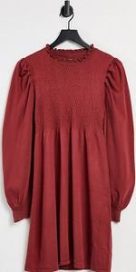 ASOS DESIGN Maternity – Ciemnoczerwona dzianinowa sukienka w stylu babydoll z ozdobnym marszczeniem-Czerwony