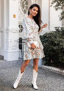 Sukienka Latika z okrągłym dekoltem mini z bawełny