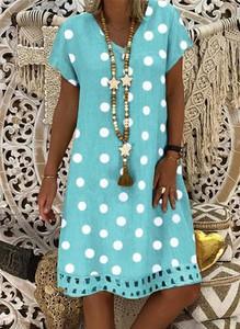 Niebieska sukienka Cikelly w stylu casual mini z dekoltem w kształcie litery v