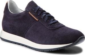 Granatowe buty sportowe Gino Rossi sznurowane