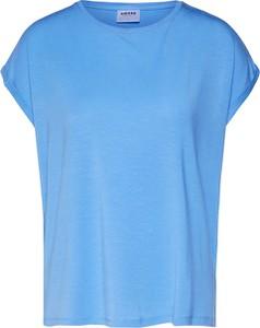 Niebieska bluzka Vero Moda z krótkim rękawem z okrągłym dekoltem