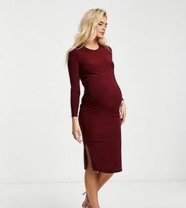 Flounce London Maternity Flounce Maternity – Bordowa dżersejowa sukienka midi o prostym kroju z długim rękawem-Fioletowy