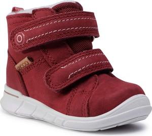 Czerwone buty dziecięce zimowe eobuwie.pl z goretexu