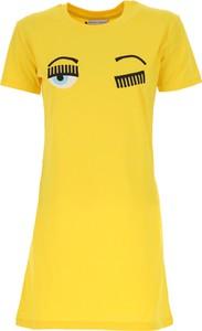 Żółta sukienka Chiara Ferragni z bawełny z okrągłym dekoltem mini