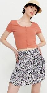 Pomarańczowa bluzka House z okrągłym dekoltem z krótkim rękawem w stylu casual