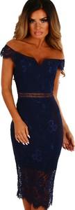 Elegrina sukienka midi esmeralda niebieska
