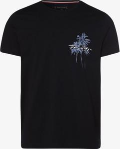 Niebieski t-shirt Tommy Hilfiger w młodzieżowym stylu z bawełny z nadrukiem