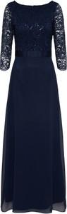 Granatowa sukienka swing trapezowa maxi