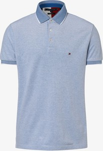 Niebieska koszulka polo Tommy Hilfiger z bawełny z krótkim rękawem