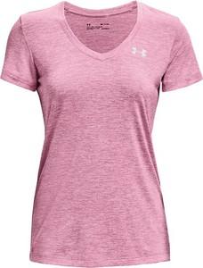 Różowy t-shirt Under Armour z okrągłym dekoltem z krótkim rękawem
