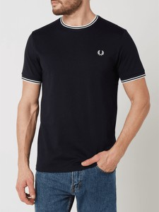 Czarny t-shirt Fred Perry z krótkim rękawem w stylu casual z bawełny