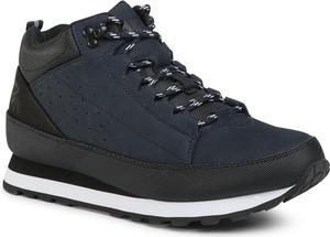 Granatowe buty zimowe 4F sznurowane z nubuku