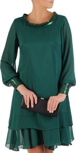 Zielona sukienka Modbis mini z długim rękawem