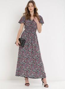Sukienka born2be maxi z krótkim rękawem