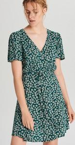 Turkusowa sukienka Cropp mini w stylu casual z krótkim rękawem
