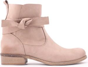 Różowe botki zapato ze skóry w stylu casual