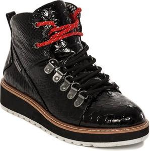 Czarne botki Pepe Jeans w stylu casual sznurowane