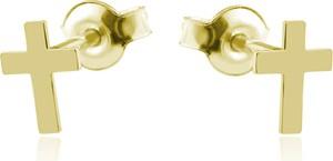 Lian Art Srebrne kolczyki z krzyżykiem - 24k złocenie