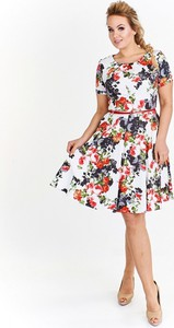 Sukienka Milano Moda w stylu casual z okrągłym dekoltem midi