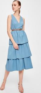 Niebieska sukienka Trendyol midi