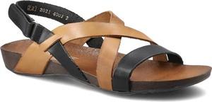 Sandały Lemar ze skóry z płaską podeszwą z klamrami