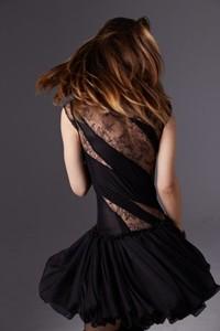 Czarna sukienka Luiza Kimak bombka z szyfonu