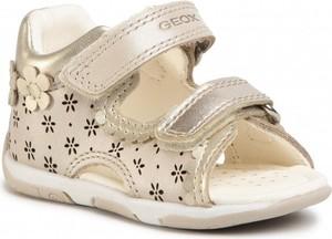 Złote buty dziecięce letnie Geox na rzepy ze skóry