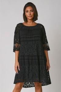 Czarna sukienka Plus Size Fashion mini z okrągłym dekoltem z długim rękawem