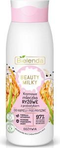 Bielenda, Beauty Milky, kremowe mleczko ryżowe z prebiotykiem do kąpieli i pod prysznic, odżywia, 400 ml