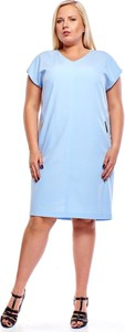 Niebieska sukienka Fokus w stylu casual z krótkim rękawem