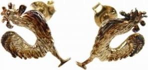 Venus Galeria Małe koguciki brązowe- kolczyki srebrne