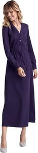 Fioletowa sukienka Colett z długim rękawem maxi