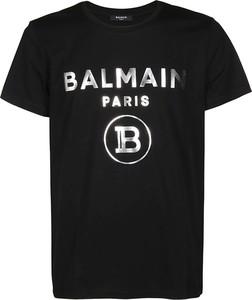 Czarna bluzka Balmain z krótkim rękawem z bawełny