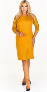 Żółta sukienka BOG-MAR z długim rękawem midi
