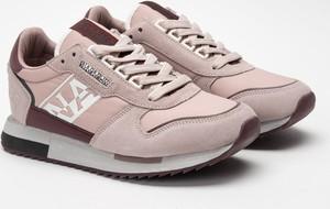 Różowe buty sportowe Napapijri z płaską podeszwą ze skóry
