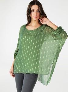 Bluzka Unisono w stylu casual z okrągłym dekoltem z tkaniny