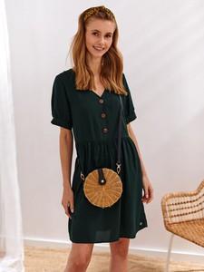 Sukienka Top Secret koszulowa z tkaniny z krótkim rękawem
