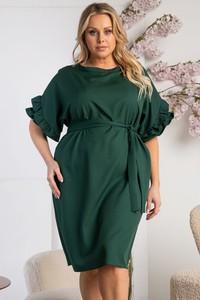 Zielona sukienka KARKO z okrągłym dekoltem