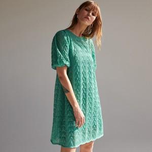 Zielona sukienka Reserved oversize w stylu casual z krótkim rękawem