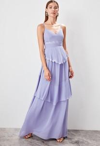 Fioletowa sukienka Trendyol na ramiączkach z dekoltem w kształcie litery v maxi