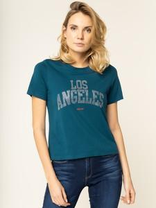 Niebieski t-shirt Guess z krótkim rękawem z okrągłym dekoltem