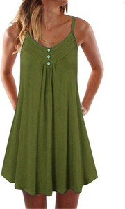 Zielona sukienka Arilook w stylu casual na ramiączkach z bawełny
