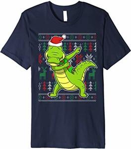 Bluzka Dabbing Zoo Alligator Ugly Christmas T-shirt Store w młodzieżowym stylu z krótkim rękawem