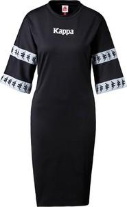 Czarna sukienka Kappa z długim rękawem mini z okrągłym dekoltem