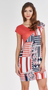 Czerwona sukienka Fokus dopasowana w stylu casual mini