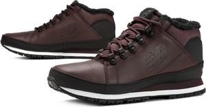 Brązowe buty zimowe New Balance ze skóry sznurowane w sportowym stylu