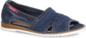 Granatowe sandały ARTIKER RELAKS z płaską podeszwą w stylu casual z zamszu