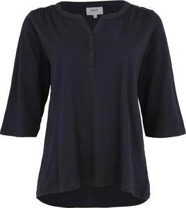 Granatowa bluzka Zizzi z dekoltem w kształcie litery v z długim rękawem